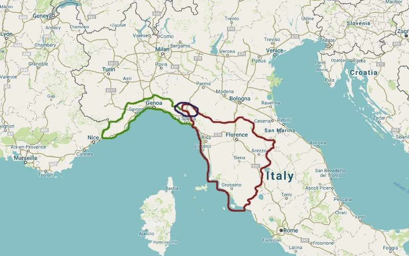 Liguria is in Green, Tuscany in Red, and Lunigiana in Purple